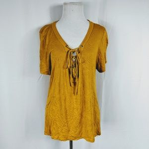 Charlotte Russe Yellow Lace up T-shirt